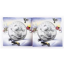 Lot (2) .9999 Fine Silver $20.00 Coins  'Snowman' Folios
