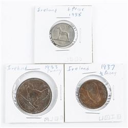 Lot (3) Coins of Ireland