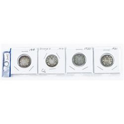 Group (4) Canada Silver 25 cent Coins: 1918,  1919, 1920, 1921