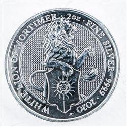 White Lion of Mortimer .999 Fine Silver 5  Pounds 2oz ASW