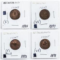 Estate Group (4) Netherlands 1 cent:  1878-1884-1892-1897 F(VF)