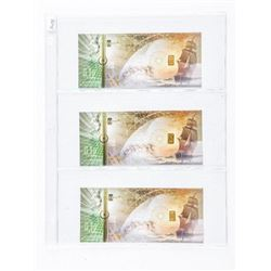 Lot (3) 24kt Gold - 'Karatbars' Inset on Each  Note Pure .9999