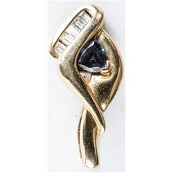 Estate 14kt Gold Diamond and Sapphire  Pendant. TRRV: $2450.00