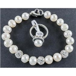 925 Sterling Silver Pearl Ring and Bracelet  Set. Size 6