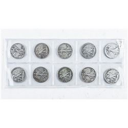 Group (10) Early USA Silver Half Dollars