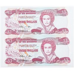 Lot (2) The Central Bank of The Bahamas 3.00  GEM UNC In Sequence (SMR)