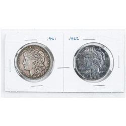Lot (2) USA 1921 and 1922 Silver Morgan and  Peace Dollars