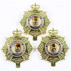 Lot (3) Regt. Queens Crown Cap Badges