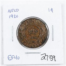 NFLD 1920 Large 1 Cent EF40