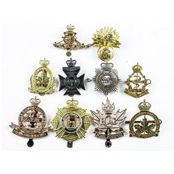 Group (10) 'King and Queen's' Era Mixed Crown  Cap Badges