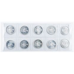 Group of (10) Canadian Silver 50 cent Queen  Elizabeth
