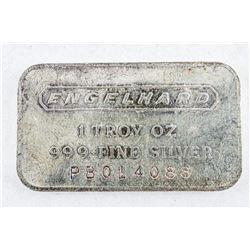 Vintage Engelhard Collector Bullion .9999  Fine Silver 1oz Bar Serialized. No Longer  Produced