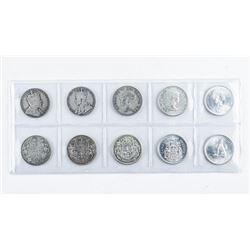 Lot (10) Canada Silver 50c. 1967, 1959, 1949,  1917, 19-0, 1967, 1966, 1957, 1941, 1920.