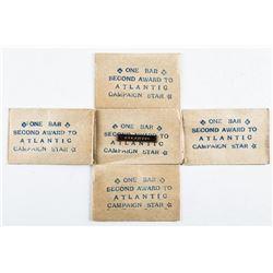 Scarce - 5 WWII Atlantic Star Bars in  Original Package.