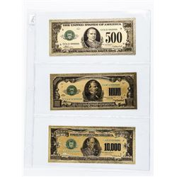 Group (3) 24kt Gold USA Collector Notes -  500.00, 1000.00, 10,000.00