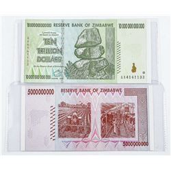 Group (2) Reserve Bank of Zimbabwe 5 Billion  and Ten Billion Dollars, Notes. GEM UNC with  Serial N