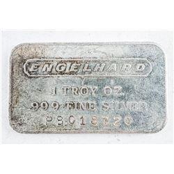 ENGELHARD Vintage Silver Collector Bullion 1  Troy oz Bar with Serial Number Plain Back