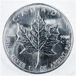 .9999 Fine Silver $5.00 Coin 2002 Maple Leaf  1oz