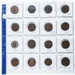 Estate Lot (16) Canada Large cent Coins All  over 100 Years. Victoria-George