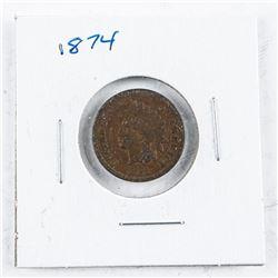 USA Indian Head 1 Cent 1874 VG8