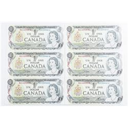 Lot (6) Bank of Canada 1973 1.00 UNC