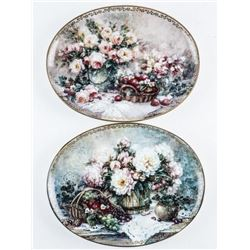 Pair 'Bradford' Oval Collector Plate, Garden  Pleasure 1st and 2nd Issue