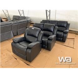 BLACK RECLINING SOFA, LOVE SEAT, & CHAIR