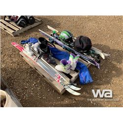 (3) SKIS W/ BOOTS, (2) HELMENTS