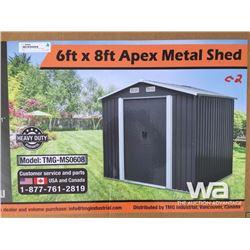 (UNUSED) 6 X 8 FT. APEX METAL SHED