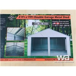 (UNUSED) 21 X 19 FT. DOUBLE GARAGE METAL SHED