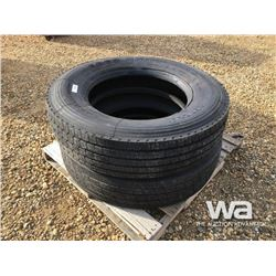 (2) GRIZZLY 305/75R24.5 TRUCK STEERING TIRES