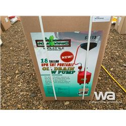 18 GALLON UPRIGHT PORTABLE OIL DRAIN W PUMP
