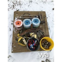 NO.150 JAW TRAP, CHAINS, STRAPS, BALER TWINE
