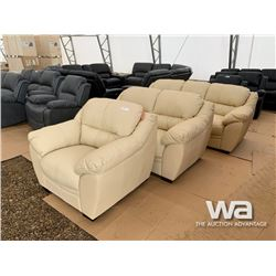 (UNUSED) 3 PIECE LEATHER SOFA, LOVE SEAT & CHAIR