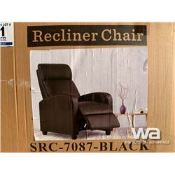 BLACK RECLINER ACCENT CHAIR & FOOT REST