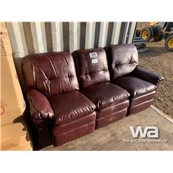 3 PIECE RECLINING LEATHER SOFA  LOVE SEAT & CHAIR