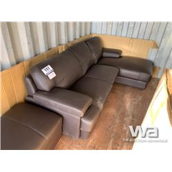 (UNUSED) LEATHER 2 SEAT CHAISE & OTTOMAN