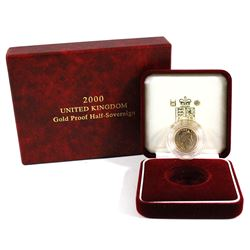 2000 United Kingdom Proof Gold Half Sovereign in Original Red Box and Display. Contains 0.1176oz fin