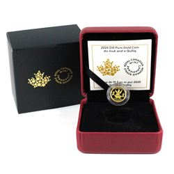 2020 Canada $10 An Inuk and a Qulli 1/20oz Fine Gold Coin. Low COA #0468/4000. This is the first sta
