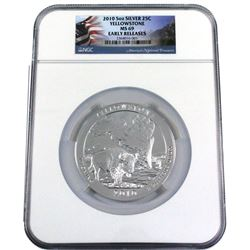 2010 USA 5oz Yellowstone State Quarter .999 Fine Silver NGC Certified MS-69 Early Releases. (TAX Exe