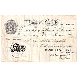 BE92b 1945 Great Britain 5 Pound Note, VF (Writing on back of note).