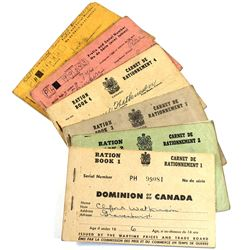 VINTAGE Dominion of Canada Partially Used Ration Books #1 Through #6. 6pcs