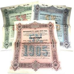 1905 Russian Imperial Government 5% Bond for 200, 500 & 1000 Roubles. 3pcs