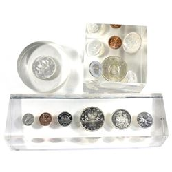 Lot of Canada Decimal Coins and Year Sets in Sealed Acrylic Slabs. You will receive a 1961 silver do
