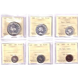1955 Canada 6-coin Proof Like Set All ICCS Certified. You will receive the 1-cent SF PL-64 Red Cameo