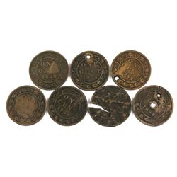 Estate Lot of Impaired 1858 Canada Large Cents. 7pcs