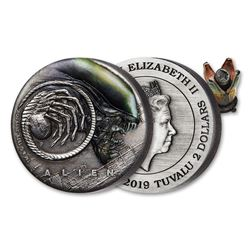 2019 Tuvalu $2 Alien 40th Anniversary 2oz Antiqued Coin Inside of Beautifully Made Opening and Closi