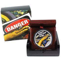 2013 Tuvalu $1 Deadly & Dangerous Series - Australian Yellow-Bellied Sea Snake 1oz Fine Silver Coin.