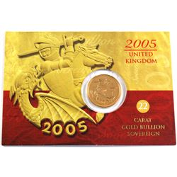 2005 United Kingdom Gold Sovereign in Cardboard Card . Contains 0.2354oz fine gold.