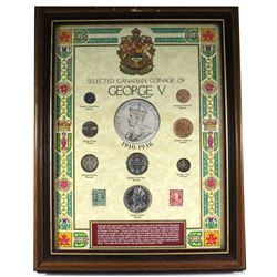 *Selected Canadian Coinage of King George V 8-coin Set with 2 Stamps in Wooden Frame. This set featu